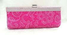 Black / Hot Pink Lace Stain Crystals Beaded Party Evening Party Bag