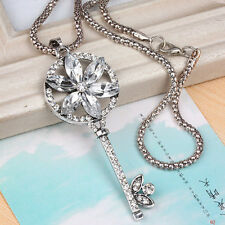 Women Jewelry Gift Charm Crystal Flower Key Pendant Necklace Long Sweater Chain