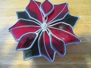 Vintage Leaded Glass Handmade Poinsettia Suncatcher