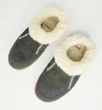 Sorel Nakiska Slippers Mules Mocassins Indoor Shoes Gray Shearling Fur Sz 7 EUC