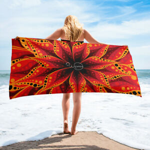 Orange and black towel, Red and yellow flower layers, Beach or bathroom