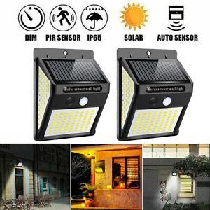 2-4X LED Solar Powered PIR Motion Sensor Wall Security Light Garden Outdoor Lamp