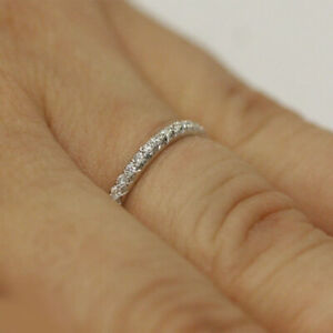 0.21 Ct Real Diamond Anniversary Ring For Women Solid 18K White Gold Size M P Q