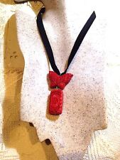 Hand Carved Vintage Genuine Red Cinnabar Butterfly Charm Necklace Pendant Choker