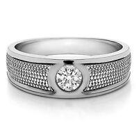 Naturale 0.25 Carati Diamante Fede Nuziale Massiccio 14K Oro Bianco Marchio Uomo