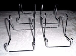 4 TOP QUALITY SMALL SIZE BOOK / PLATE / PICTURE STANDS - CHROME