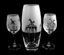 More details for giraffe gift vase & pair of wine glasses