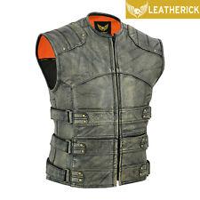Biker Leather Waistcoat Distressed Brown Gladiator Motorcycle Club Cowhide Vest