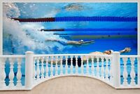 Huge 3D Balcony Olympic Swimming Wall Stickers Mural Wallpaper 258