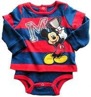 Disney  Mickey Mouse Boys Red Blue Striped 3-6 Layered Bodysuit