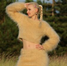 Beige Camel Hand Knitted Fuzzy Mohair Sweater und Rock SEXY Cropped Fluffy Set