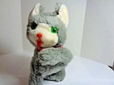 Vintage 7 inch Wind Up Gray Fur covered Kitten