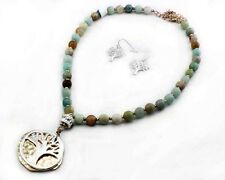"""18"""" Adjustable Beaded Tree of Life Necklace With Matching Dangling Earrings"""