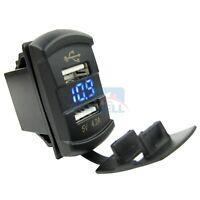 Car Boat Marine Dual USB Charger Socket Voltage Voltmeter Rocker Switch Panel
