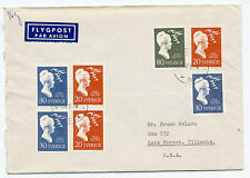 Sweden 1958 Airmail Cover #532-36 Lagerlof Writer Fdc ? To Illinois Usa