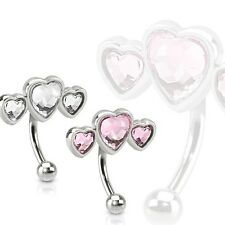 1 SURGICAL STEEL TRIPLE HEART EYEBROW CURVE WITH 3 PAVED HEART SHAPES CZ GEMS