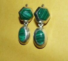 "~VINTAGE~""TAXCO""~MEXICO~""925""~STERLING~SILVER~MALACHITE~DANGLE~EARRINGS~SIGNED~"