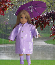 """Lavender Rain Coat, Boots, & Umbrella made for 18"""" American Girl Doll Clothes"""