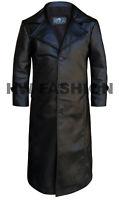 Mens Leather Trench Coat Long Coat Overcoat Genuine Sheepskin Wax Tan Leather