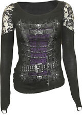 SPIRAL DIRECT WAISTED CORSET LS Finger Loop Shoulder Lace Viscose,Gothic/Top/Tee