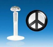 Piercing Labbro Labret Trago Cartilagine Bioflex Logo Pace e amore bianco e nero