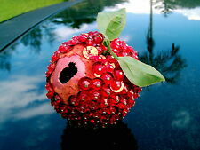 Vintage Pinned Jeweled Fruit Sequin Red Plum With Leaves Take A Look