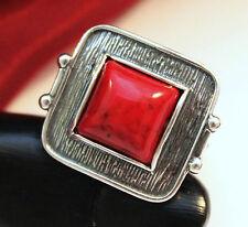 Echter 925 Silber Ring Gr.56 (17,8mm) mit Koralle, ROT, inkl. Schmucketui