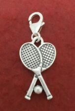 Sterling Silver Tennis Charm clipon style racket racquet clip on New solid 925