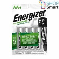 4 ENERGIZER RECHARGE POWER PLUS AA HR6 BATTERIES 1.2V 2000mAh MIGNON STILO NEW