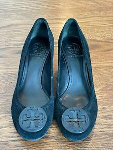 Tory Burch Black Wedge Heel Shoes Size 7.5