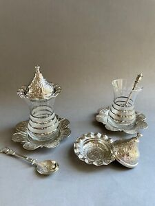 Complete Tea Gift Set for 2, Silver Trimmed Glasses, Saucers, Spoons and Bowls