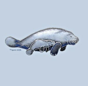 MANATEE & CALF Cloisonne PIN by Bamboo Jewelry STERLING Silver Sea - Gift Boxed