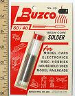 1 BUZCO 60/40 RESIN CORE SOLDER 1/24 Slot Car Frame Chassis Scratch Builder USA