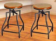 24-29'' Adjustable Metal Barstool with Wood Veneer Seat Set of 2
