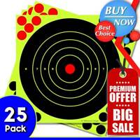 "25PK Shooting Targets Reactive Splatter 8"" Paper Adhesive Gun Shoot Rifle USA"