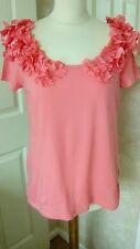 LADIES BEAUTIFUL DESIGNER SIZE M (10/12) PINK,S/SLEEVE TOP WITH 3D FLORAL NECK.