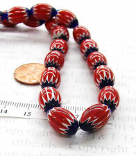 Unusual Chevron Red & Cobalt Trade Bead  Each   antique style Ref# 808   Bin T2