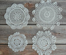 Set 4 Crochet Round Doilies Lot in bulk Country Wedding Coasters Table Runners