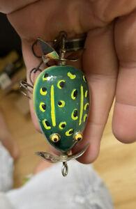 Vintage pflueger kent floater frog lure repainted glass eyes
