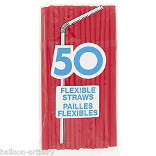 50 RED Flexible Drinking Straws Kids Party Item