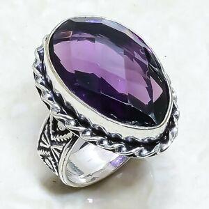 Amethyst Gemstone Handmade Ethnic Silver Jewelry Ring Size 7.5 RRJ6796