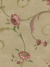 Wallpaper Classic Floral Vine Flowers and Scroll Pink, Red, Green, Tan on Beige