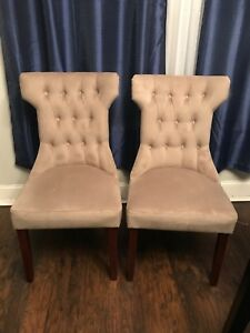 dining chairs tan chairs tufted chairs sets of two  beige