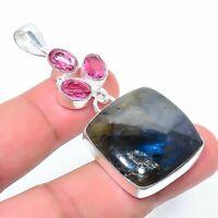 "Labradorite, Rubillite Handmade Ethnic Style Jewelry Pendant 2.36"" VJ-6630"