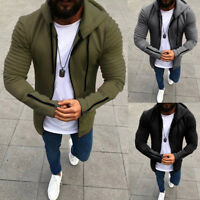 Mens Hoodie Sweatshirt Sweater Hooded Zip Up Tops Jacket Coat Outwear Pullover