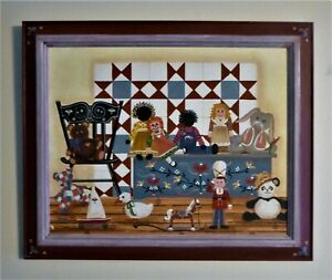 ORIGINAL FOLK ART PAINTING ~ DONA DOUMA ~ 1988 ~ MY BUDDIES ~ CANVAS ~ OOAK ~
