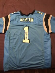 Authentic Stitched Sewed NFL Jersey Cam Newton Panthers Printed Signature Size52