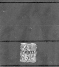 TAHITI Sc 20(YT 22)F-VF USED 1893 5c GREEN/GREENISH, SCARCE, SIGNED, $2,000