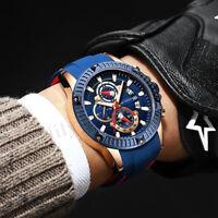 Mini Focus Men's Chronograph Analog Quartz Waterproof Silicone Strap Sport Watch