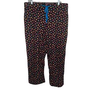 Vera Bradley Womens Pajama Pants Size Large Corduroy Kensington Black Paisley